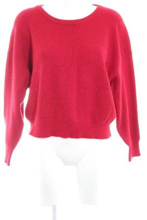 Zara Knit Oversized Pullover karminrot-rosé Casual-Look