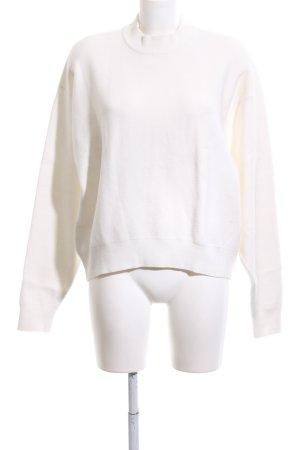 Zara Knit Oversized Pullover weiß-schwarz Casual-Look