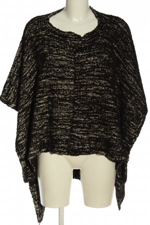 Zara Knit Ponczo czarny-kremowy Melanżowy W stylu casual