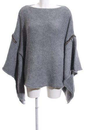 Zara Knit Poncho gris clair moucheté style décontracté