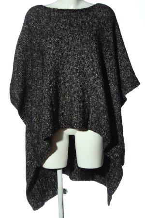 Zara Knit Poncho noir-blanc Motif de tissage style décontracté