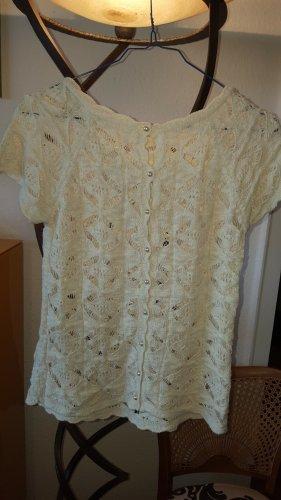 Zara Knit Pullover Perlen creme Gr.S (M)