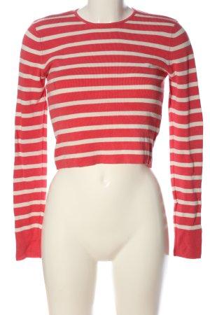 Zara Knit Ringelshirt rot-weiß Streifenmuster Casual-Look
