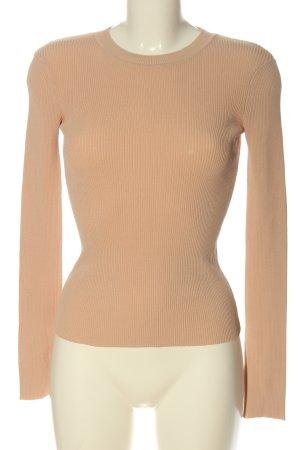 Zara Knit Rippshirt nude Casual-Look