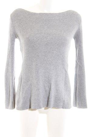 Zara Knit Ribbed Shirt light grey flecked business style