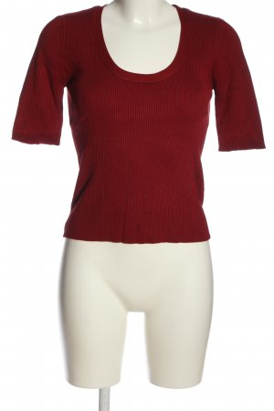 Zara Knit Ribbed Shirt red striped pattern casual look
