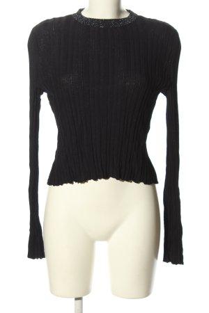 Zara Knit Geribd shirt zwart casual uitstraling
