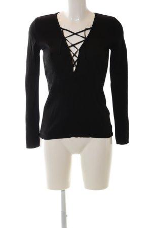 Zara Knit Rippshirt schwarz Casual-Look