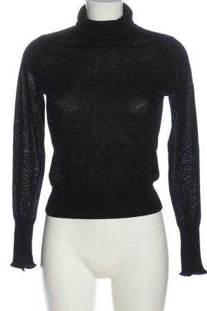 Zara Knit Rollkragenpullover schwarz Zopfmuster Casual-Look