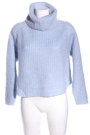 Zara Knit Rollkragenpullover blau Zopfmuster Casual-Look
