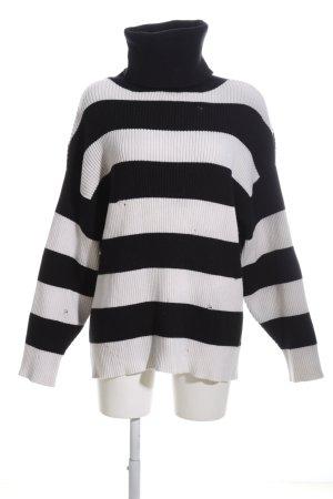 Zara Knit Coltrui zwart-wit gestreept patroon casual uitstraling