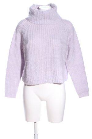 Zara Knit Pull-over à col roulé violet torsades style décontracté