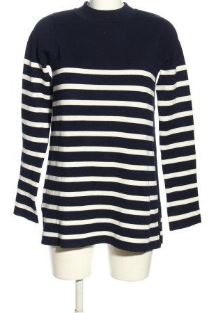 Zara Knit Rollkragenpullover blau-weiß Streifenmuster Casual-Look