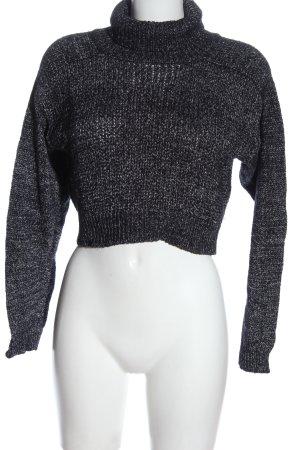 Zara Knit Rollkragenpullover schwarz-weiß meliert Casual-Look