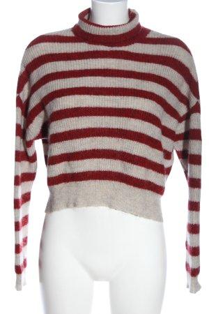 Zara Knit Rollkragenpullover rot-wollweiß Streifenmuster Casual-Look