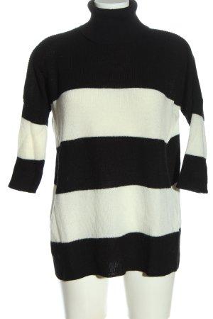 Zara Knit Rollkragenpullover schwarz-weiß Streifenmuster Casual-Look