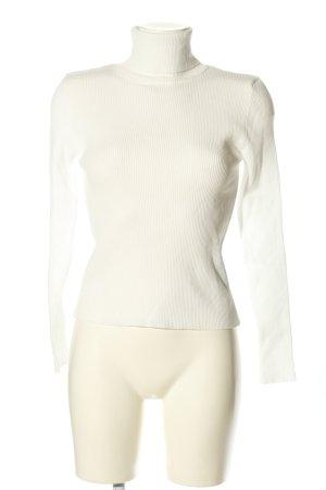 Zara Knit Camisa de cuello de tortuga blanco look casual