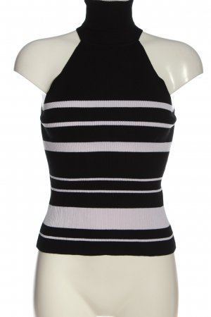 Zara Knit Turtleneck Shirt black-white striped pattern casual look
