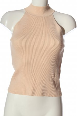 Zara Knit Top z golfem nude Wzór w paski W stylu casual