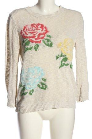 Zara Knit Rundhalspullover Blumenmuster Casual-Look