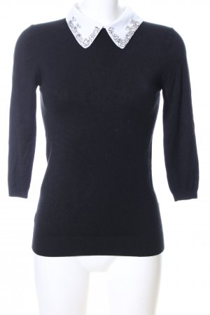 Zara Knit Rundhalspullover schwarz Business-Look