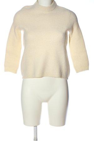 Zara Knit Rundhalspullover creme Casual-Look
