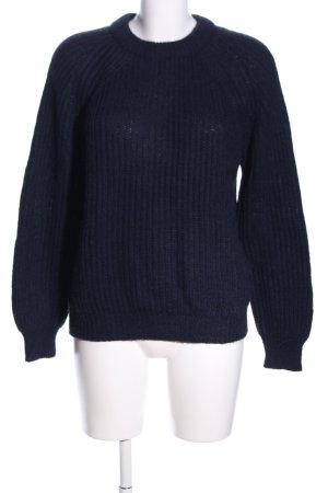 Zara Knit Pull ras du cou bleu torsades style décontracté