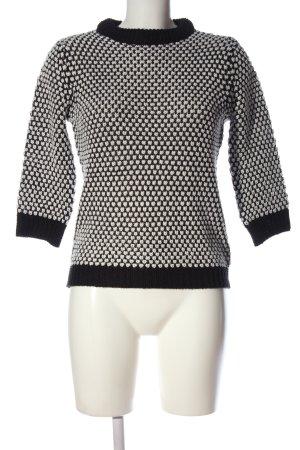 Zara Knit Rundhalspullover weiß-schwarz meliert Casual-Look