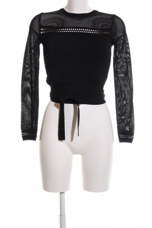 Zara Knit Rundhalspullover schwarz Webmuster Casual-Look