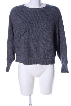 Zara Knit Rundhalspullover blau meliert Casual-Look