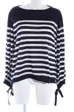 Zara Knit Rundhalspullover blau-weiß Streifenmuster Casual-Look