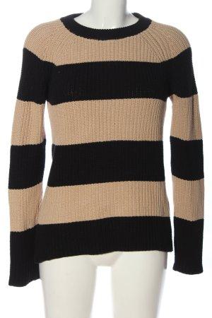 Zara Knit Rundhalspullover schwarz-creme Streifenmuster Casual-Look