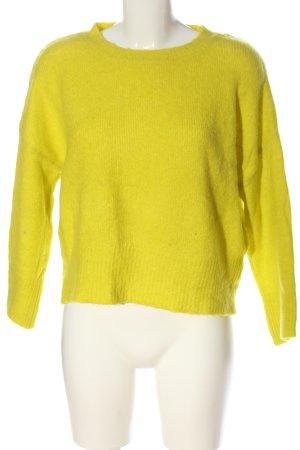 Zara Knit Rundhalspullover blassgelb Casual-Look