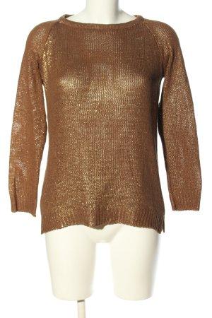 Zara Knit Rundhalspullover goldfarben Casual-Look
