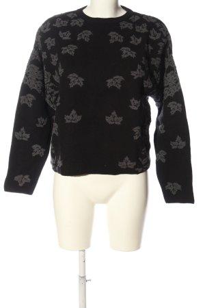 Zara Knit Rundhalspullover schwarz Motivdruck Casual-Look