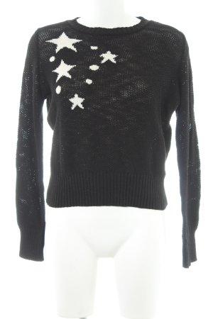 Zara Knit Rundhalspullover schwarz-weiß Casual-Look