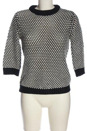 Zara Knit Rundhalspullover schwarz-weiß Webmuster Casual-Look