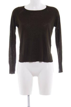 Zara Knit Rundhalspullover waldgrün Casual-Look