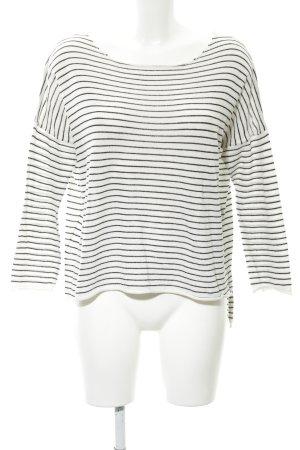 Zara Knit Rundhalspullover weiß-schwarz Streifenmuster Casual-Look