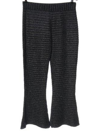 Zara Knit Flares black-silver-colored striped pattern glittery