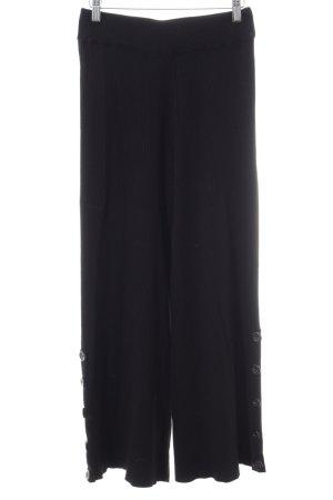 Zara Knit Schlaghose schwarz Streifenmuster Casual-Look