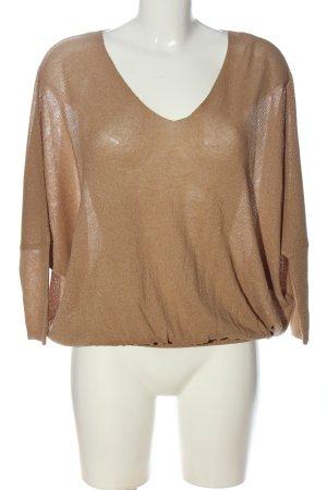 Zara Knit Schlupf-Bluse braun Casual-Look