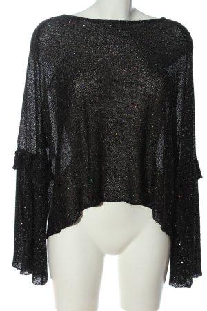 Zara Knit Schlupf-Bluse schwarz meliert extravaganter Stil
