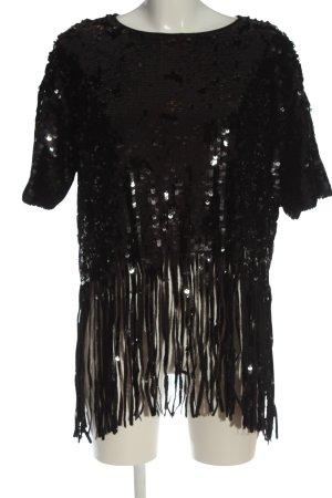 Zara Knit Schlupf-Bluse schwarz Elegant