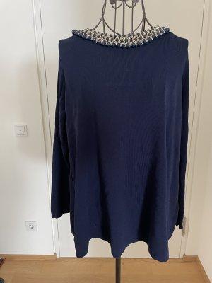 Zara Knit Shirt Bluse Oberteil mit Kette blau Gold M 40
