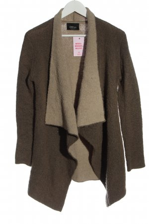 Zara Knit Strick Cardigan braun-creme meliert Casual-Look
