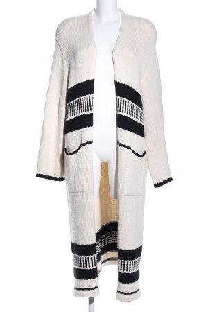 Zara Knit Strick Cardigan schwarz-creme Streifenmuster Casual-Look