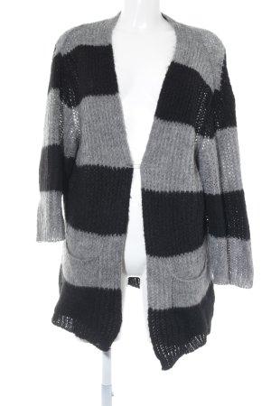 Zara Knit Strick Cardigan grau-schwarz meliert Casual-Look
