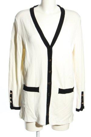 Zara Knit Strick Cardigan weiß-schwarz Casual-Look