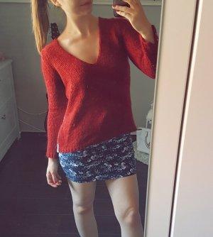 Zara Knit Strick Pulli Pullover rot Häkeleinsatz V-Ausschnitt